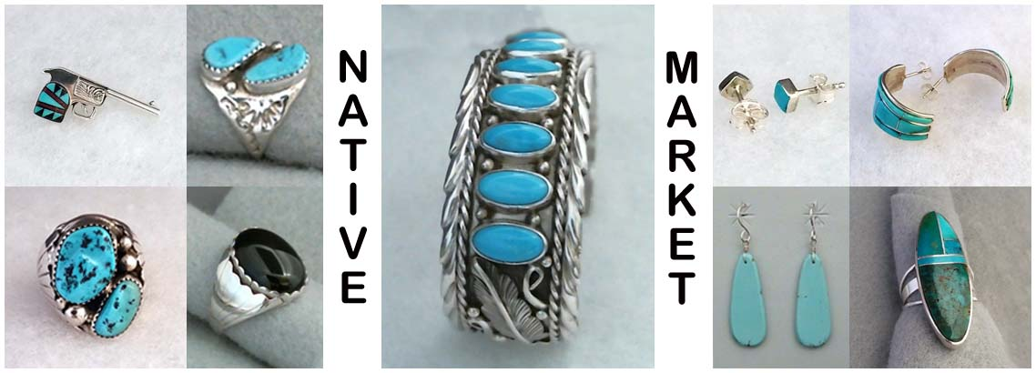 Native Market-Sterling silver jewelry made by various southwestern Native American silversmiths.