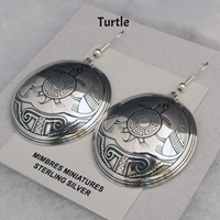 Sterling silver Mimbres Earrings, 1 1/2 inch size, dome style, wires-Turtle design
