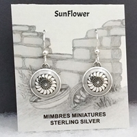 Sterling silver Mimbres Earrings, 1/2 inch size, dome style, wires-SunFlower design
