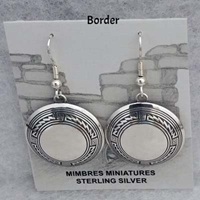 Sterling silver Mimbres Earrings, 1 inch size, dome style, wires-Border design