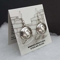 Sterling silver Mimbres Earrings, 5/8 inch size, dome style, wires-Mountain Sheep design