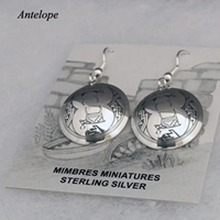 Sterling silver Mimbres earrings, Antelope design, with wires.