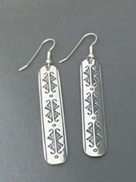 Large long strip sterling silver earrings with The Silver Mesas hand stamped Butterfly design.