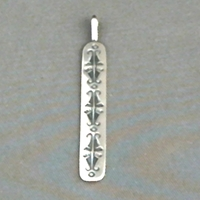Sterling silver strip pendant with The Silver Mesas hand stamped Butterfly design.