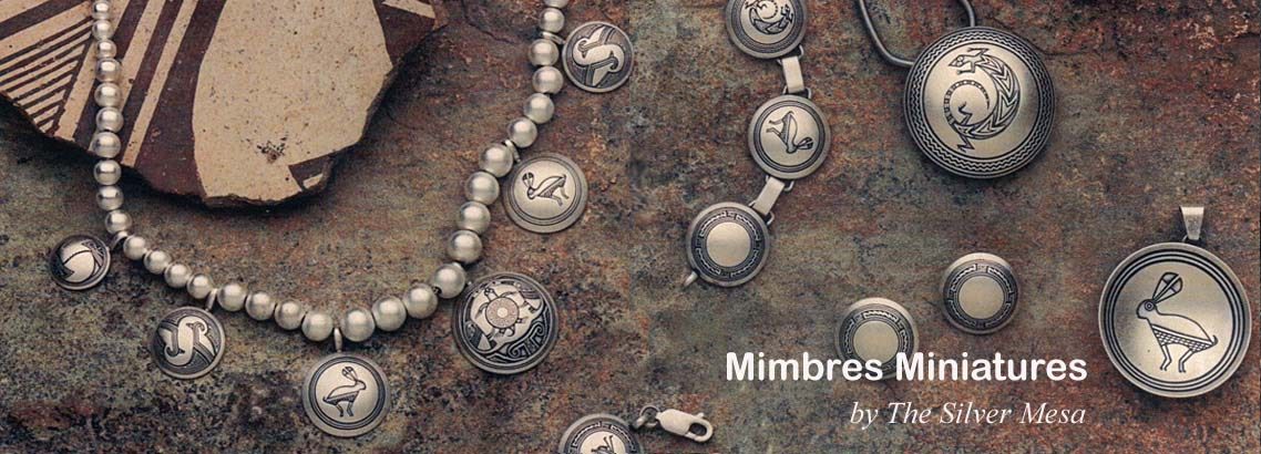 Mimbres Miniatures-Sterling silver Mimbres jewelry Native American made.