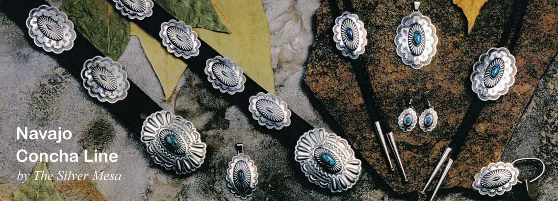 Navajo Concha Line-Native American made traditional Navajo concha style sterling silver jewelry and accessories.