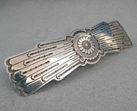 Sterling silver barrette with generous 3 7/8-inch clip.