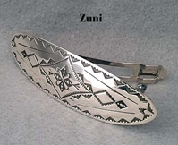 Large oval sterling silver barrette, Zuni design, by The Silver Mesa.