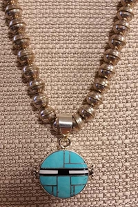 Double-Sided Pendant with Silver Bead Necklace