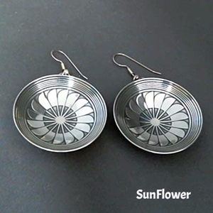Sterling silver Mimbres earrings, bowl style, SunFlower design.