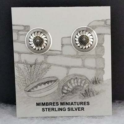 Sterling silver Mimbres post earrings, 1/2 inch size, Sunflower design.