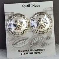 Sterling silver Mimbres post/clip earrings, 1 inch size, Quail Chicks design.