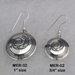 Sterling silver Mimbres earrings, 3/4 and 1 inch sizes compared.