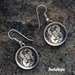 Sterling silver Mimbres Antelope Earrings, bowl style, with wires.