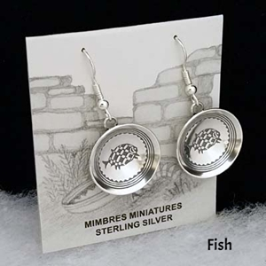 Sterling silver Mimbres Fish Earrings, bowl style, with wires.