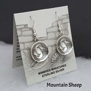 Sterling silver Mimbres earrings, bowl style, Mountain Sheep design.