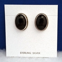 Wholesale-Sterling silver earrings with Black Onyx.