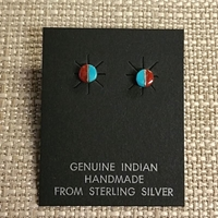 Earrings-Turquoise/Coral posts earrings, post, opal, sterling, silver, wholesale