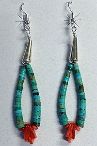 Earrings-Turquoise Heishi