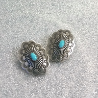 Earrings with Turquoise, post or clip-on