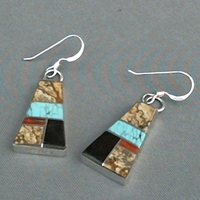 Edison Yazzie Inlay Earrings, Style A Trapezoid shape