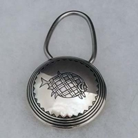 Sterling silver keyring with Mimbres Fish design.
