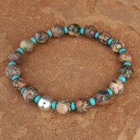 Leopard jasper and turquoise bead stretch bracelet