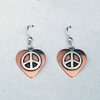 Copper Heart Earrings with Sterling Silver Peace Sign
