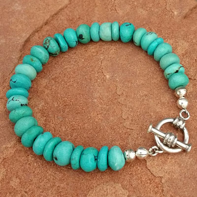 Hand-cut Turquoise Bead Toggle Bracelet