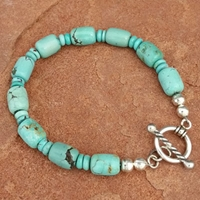 Natural Turquoise Bead Toggle Bracelet