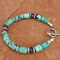 Natural Turquoise and Purple Spiney Oyster Toggle Bracelet