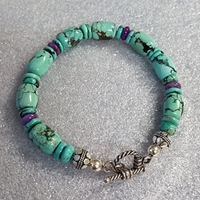Turquoise and Sugilite Toggle Bracelet