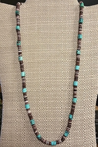 Turquoise and Violet Oyster Shell Necklace