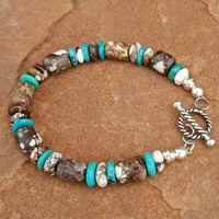 Natural Wild Horse Magnesite and Turquoise Toggle Bracelet