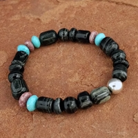 Natural Bead Stretch Bracelet with Arizona Zebra Agate and Blue Gem Turquoise