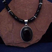 Onyx Bead Necklace and Pendant
