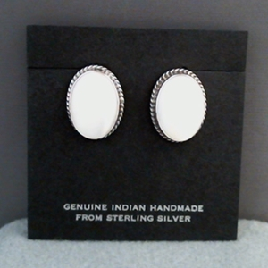Wholesale sterling silver earrings with Mother-of-Pearl.  Wires, posts and clips.  Made in USA.