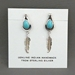 Sterling silver Turquoise and Feather post earrings by Theresa Kinsel, Navajo