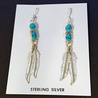 Earrings-Turquoise & Feathers