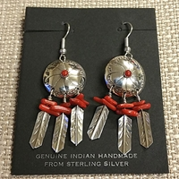 Earrings-Shield with Feathers, Coral