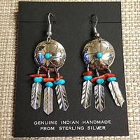 Earrings-Shield with Feathers, Coral & Turquoise