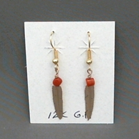Earrings-Golden Feathers earrings,feather,gold,coral