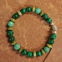 Malachite, Turquoise and Serpentine Magnet Bracelet