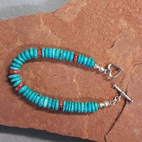 Turquoise and Spiney Oyster Toggle Bracelet