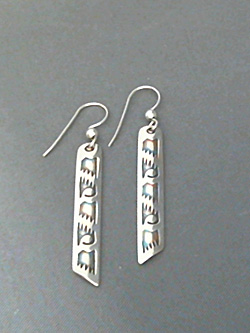 Long strip sterling silver earrings with The Silver Mesa's hand stamped Wings design.