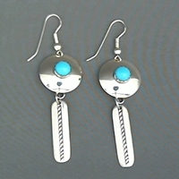 Two-piece sterling silver earrings with turquoise.  Made in the USA.