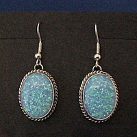 Sterling silver earrings with high quality imitation Blue Opal.