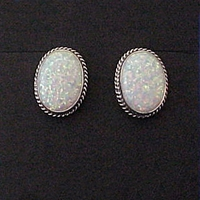 Wholesale sterling silver earrings with high quality imitation Opal; clips, posts and wires.  Made in USA.