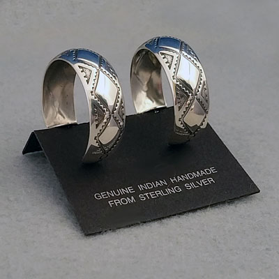 Side view-Sterling silver post hoop earrings, Diamond Back design, by The Silver Mesa.
