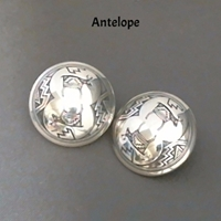 "Earring-1"" Clip earrings, clip, sterling, silver, round, Mimbres"